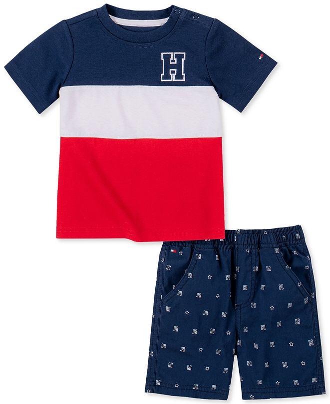 Tommy Hilfiger Baby Boys 2-Pc. Wide Stripe T-Shirt & Printed Shorts Set