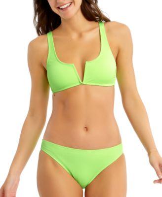 Juniors' Ribbed V-Wire Bralette Bikini Top, Created for Macy's