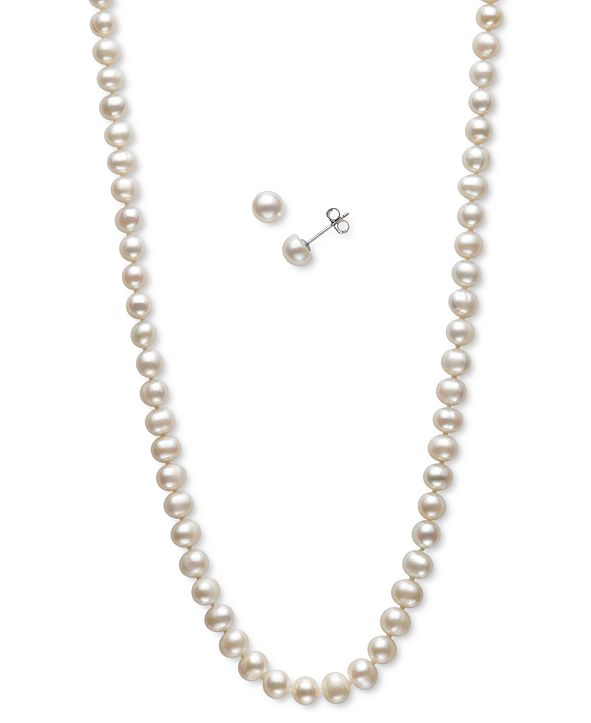 Macy's 2-Pc. Set Peacock Dyed Cultured Freshwater Pearl (5-6mm) Collar Necklace & Matching Stud Earrings (Also in Pink & White Cultured Freshwater Pearl)