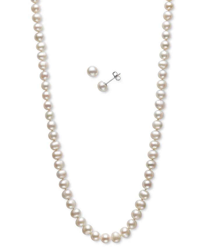 Macy's - 2-Pc. Set Cultured Freshwater Pearl (5-6mm) Strand Necklace & Matching Stud Earrings