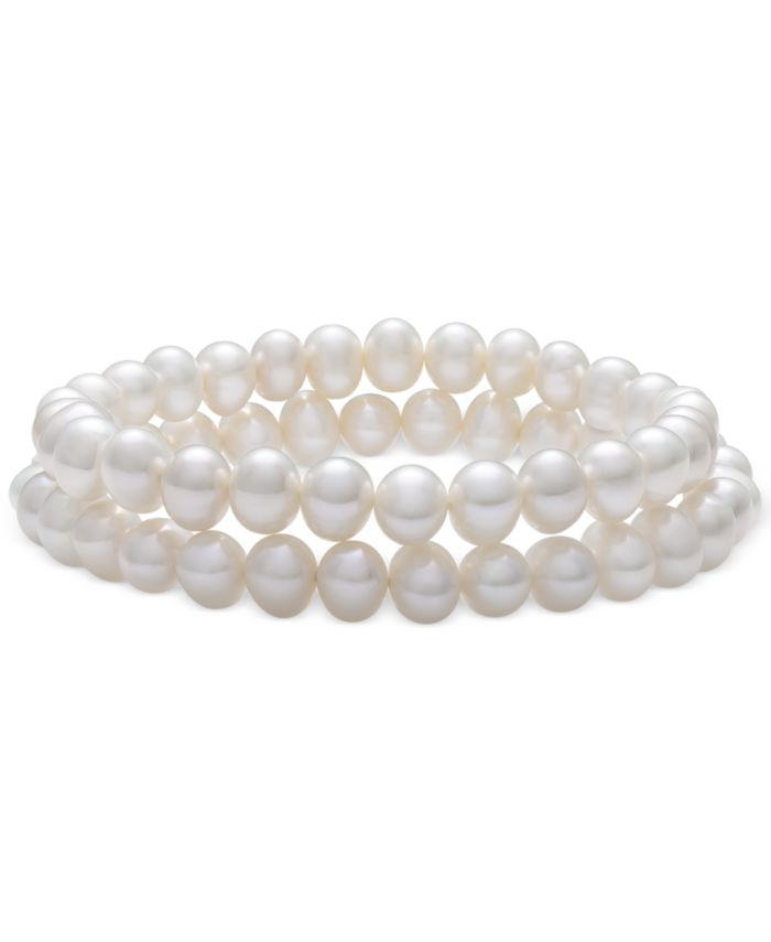 Macy's 2-Pc. Set Cultured Freshwater Pearl (6-7mm) Stretch Bracelet & Matching Stud Earrings & Reviews - Jewelry & Watches - Macy's