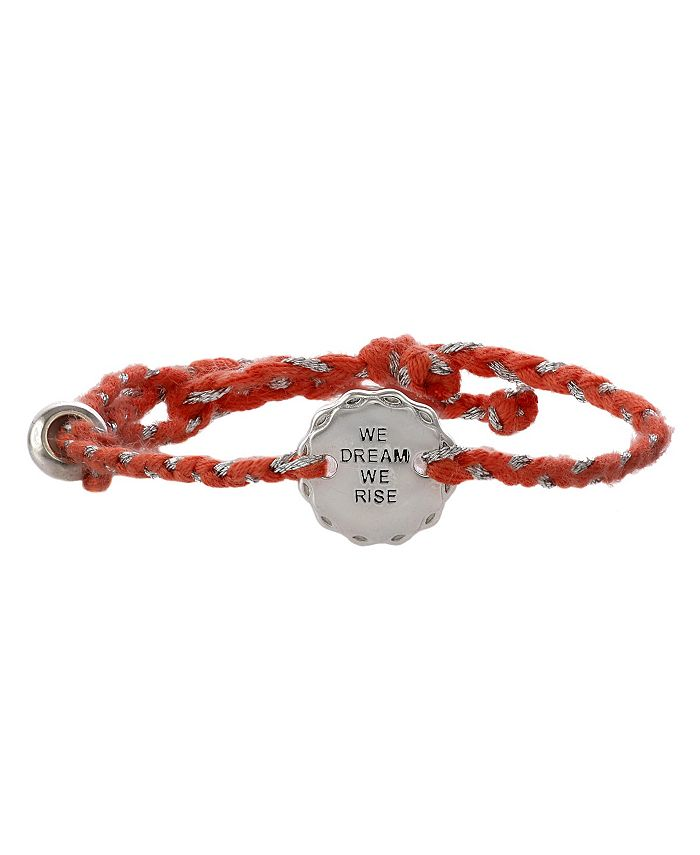Girl Rising - Sterling Silver and Peach Thread Bracelet - We Dream We Rise