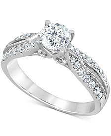Diamond Twist Engagement Ring (1-1/8 ct. t.w.) in 14k White Gold