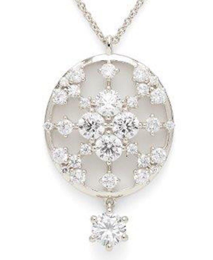 "Eliot Danori - Cubic Zirconia Pendant Necklace, 16"" + 4"" extender"