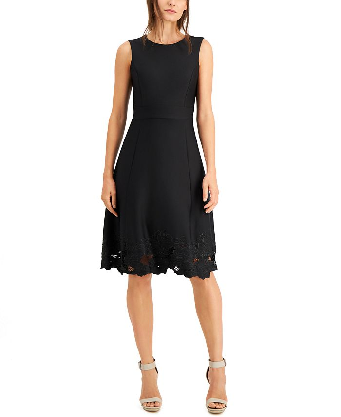 Calvin Klein - Lace-Hem Fit & Flare Dress