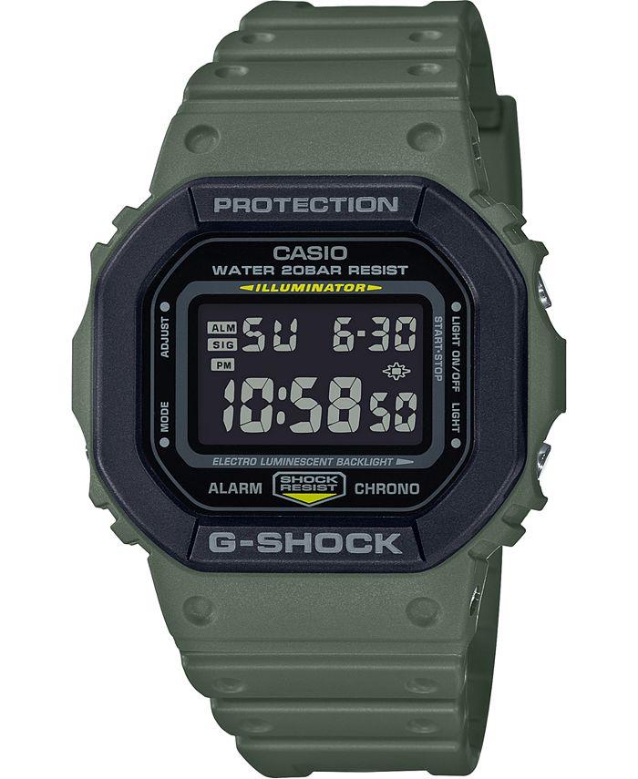 G-Shock - Men's Digital Green Resin Strap Watch 43.8mm