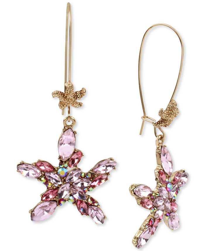 Betsey Johnson - Gold-Tone Crystal Cluster Starfish Linear Drop Earrings