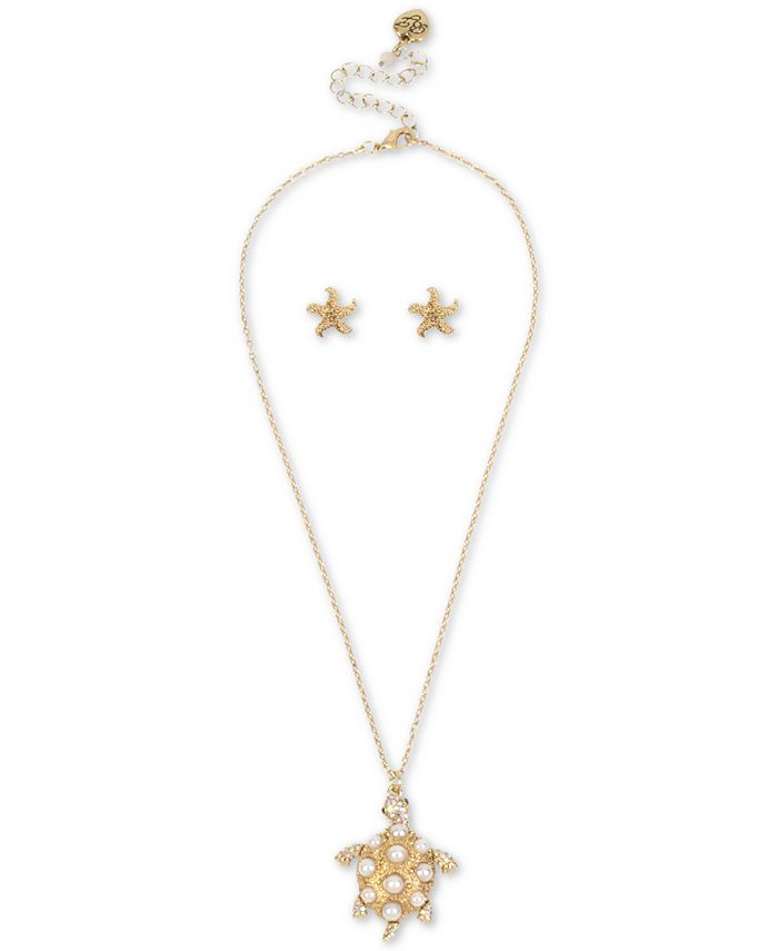 Betsey Johnson - Gold-Tone Pavé & Imitation Pearl Turtle Pendant Necklace & Starfish Stud Earrings Set