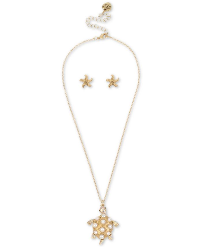 Betsey Johnson Gold-Tone Pavé & Imitation Pearl Turtle Pendant Necklace & Starfish Stud Earrings Set & Reviews - Necklaces - Jewelry & Watches - Macy's