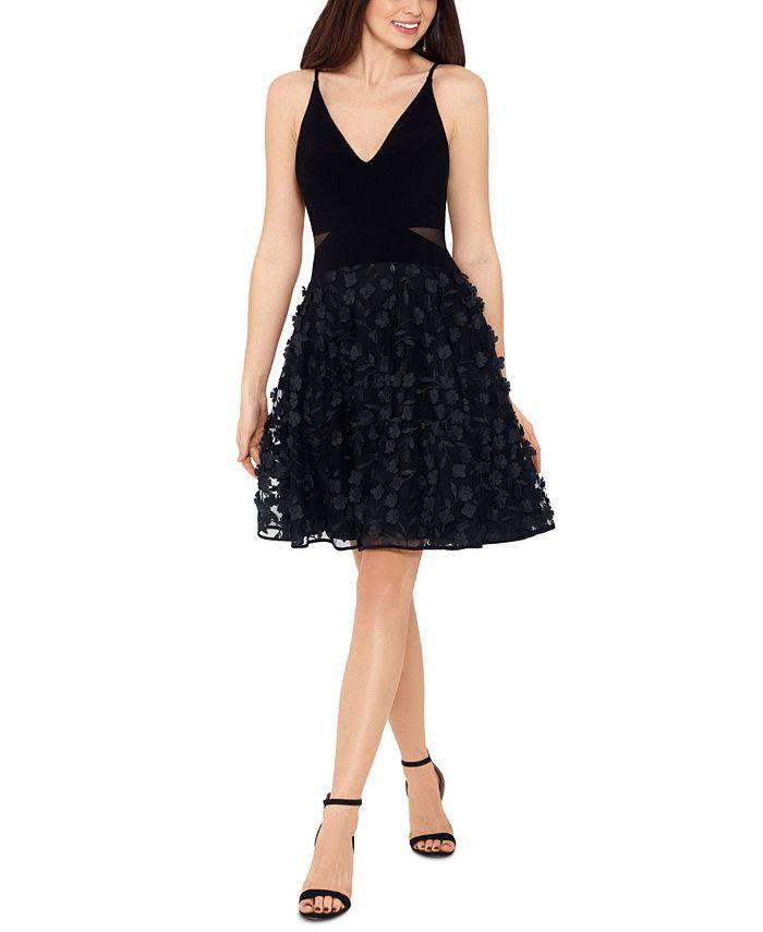 XSCAPE - Appliqué Mesh Fit & Flare Dress