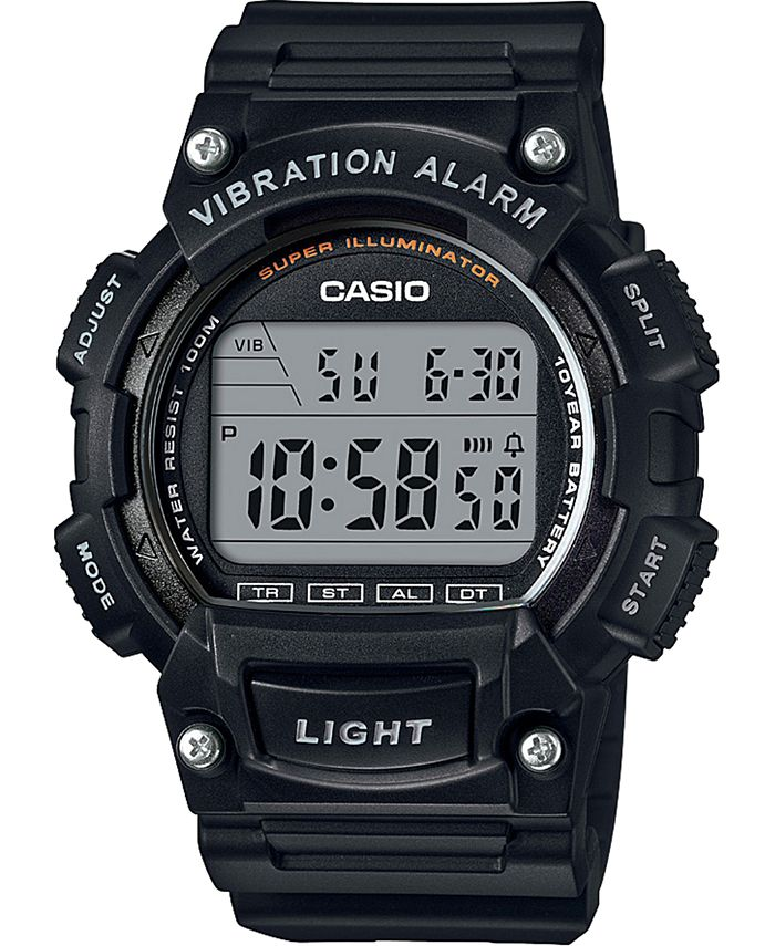 Casio - Men's Digital Black Resin Strap Watch, 47.1mm