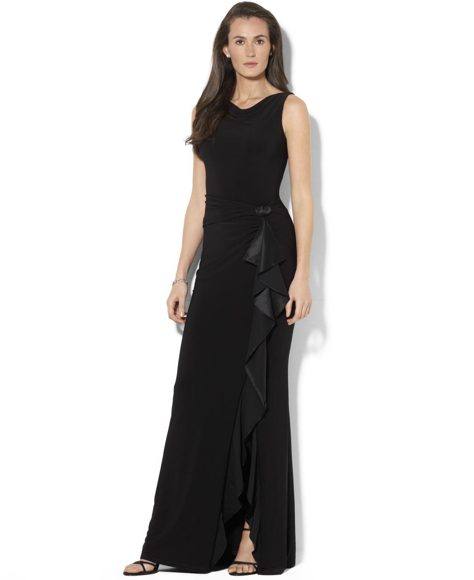 fbe0380255 Lauren Ralph Lauren Petite Sleeveless Ruffled Jersey Gown Dresses Women