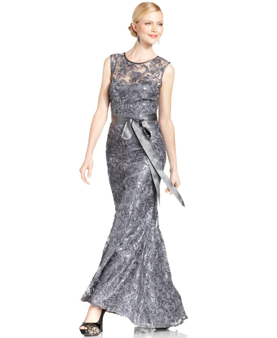 Betsy & Adam Dress, Cap Sleeve Beaded Sequin Lace Gown   Dresses   Women