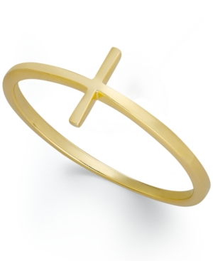 Studio Silver 18k Gold over Sterling Silver Ring, Sideways Cross Ring