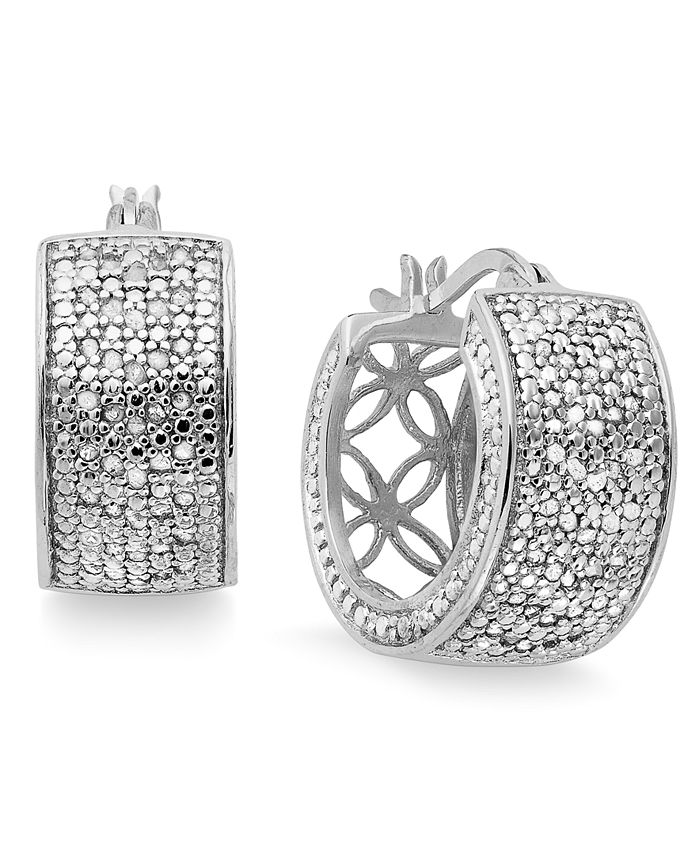 Victoria Townsend - Small Rose-Cut Diamond Hoop Earrings in Sterling Silver (1/2 ct. t.w.)