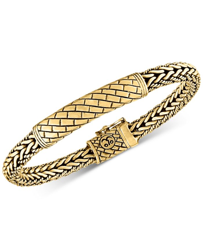 Esquire Men's Jewelry Herringbone Bali Bracelet in 14k Gold-Plated Sterling Silver, Created for Macy's & Reviews - Bracelets - Jewelry & Watches - Macy's