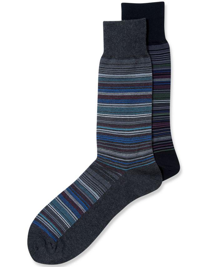 Perry Ellis - Men's Socks, Mercerized Cotton Striped Crew Single Pack