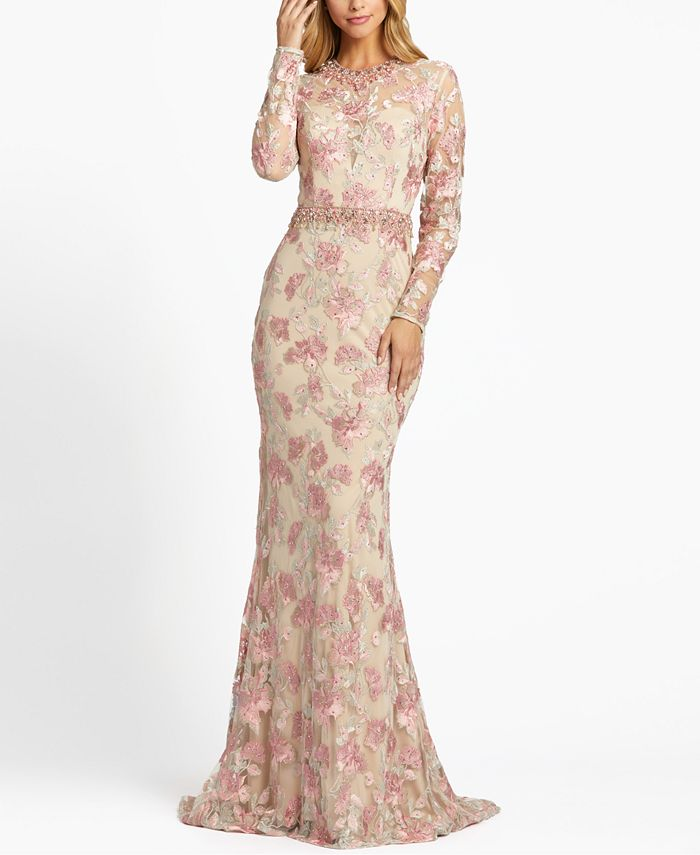 MAC DUGGAL - Floral Embellished Embroidered Gown