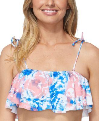 Juniors' Torquay Printed Flounce Bikini Top