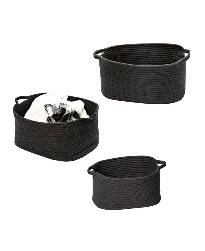 Honey Can Do - Set of 3 Black Cotton Coil Baskets