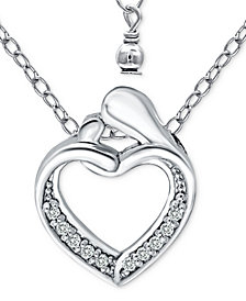 "Giani Bernini Cubic Zirconia Abstract ""Mom & Child"" Heart Pendant Necklace in Sterling Silver, 16"" + 2"" extender, Created for Macy's"