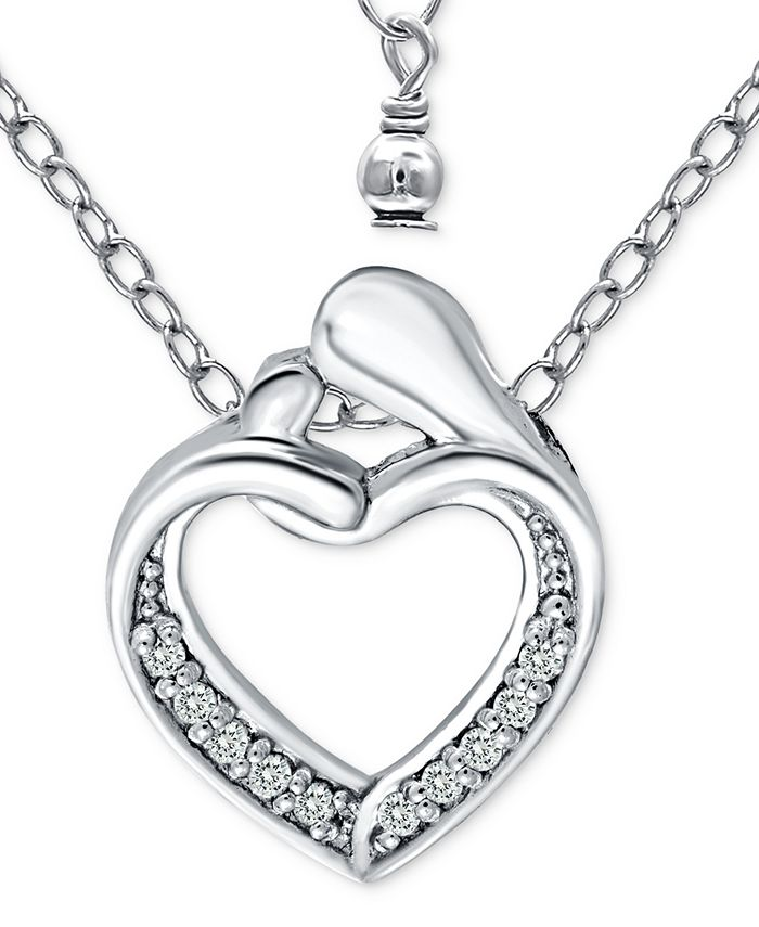 """Giani Bernini - Cubic Zirconia Abstract """"Mom & Child"""" Heart Pendant Necklace in Sterling Silver, 16"""" + 2"""" extender"""