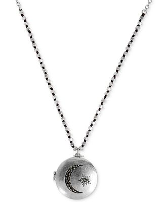 Lucky brand necklace silver tone moon locket necklace for Macy s lucky brand jewelry