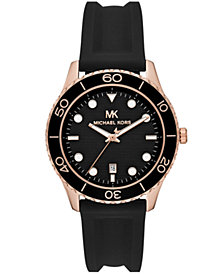Michael Kors Women's Runway Three-Hand Black Silicone Watch