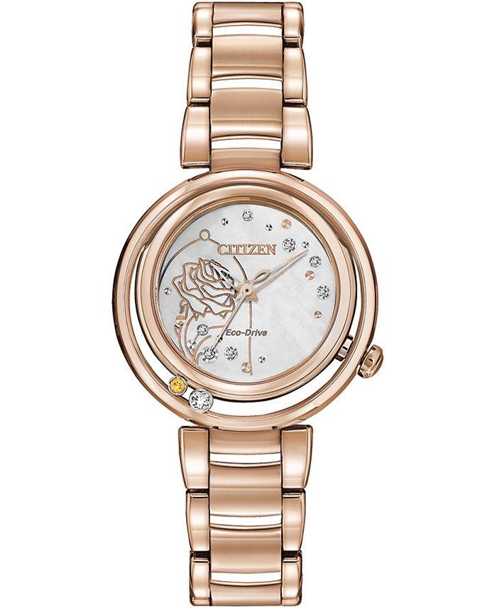 Citizen - Women's Belle Diamond-Accent Rose Gold-Tone Stainless Steel Bracelet Watch 30mm