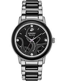 Citizen Eco-Drive Women's Ursula Diamond-Accent Stainless Steel & Black Ceramic Bracelet Watch 36mm