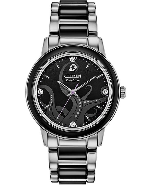 Citizen Citizen Eco-Drive Women's Ursula Diamond-Accent Stainless Steel & Black Ceramic Bracelet Watch 36mm