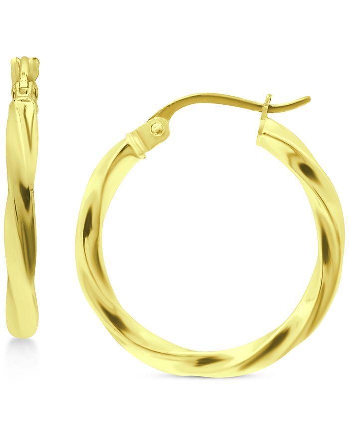 """Giani Bernini - Small Twist Hoop Earrings in 18k Gold-Plated Sterling Silver, 3/4"""""""