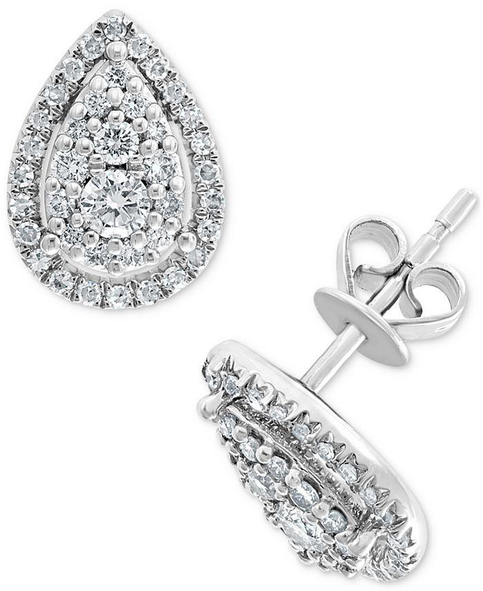 EFFY Collection - Diamond Teardrop Halo Stud Earrings (1/2 ct. t.w.) in 14k White Gold