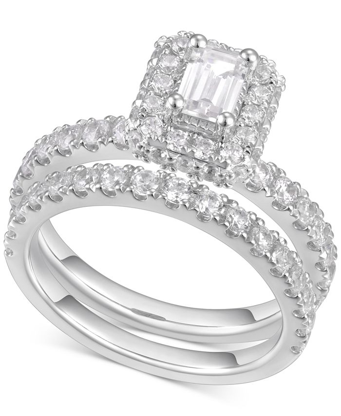 Macy's - Diamond Emerald-Cut Halo Engagement Ring (2 ct. t.w.) in 14k White Gold