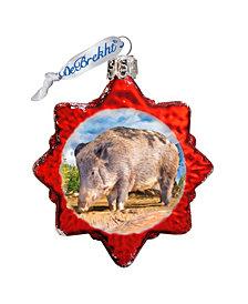G.DeBrekht Wild Boar Hand Painted Glass Ornament