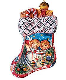 G.DeBrekht Hand Painted Christmas Santa Stocking Scenic Ornament