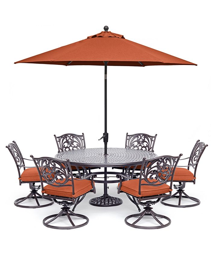 """Furniture - Chateau Outdoor Aluminum 7-Pc. Set (60"""" Round Dining Table & 6 Swivel Rockers) with Sunbrella® Cushions"""