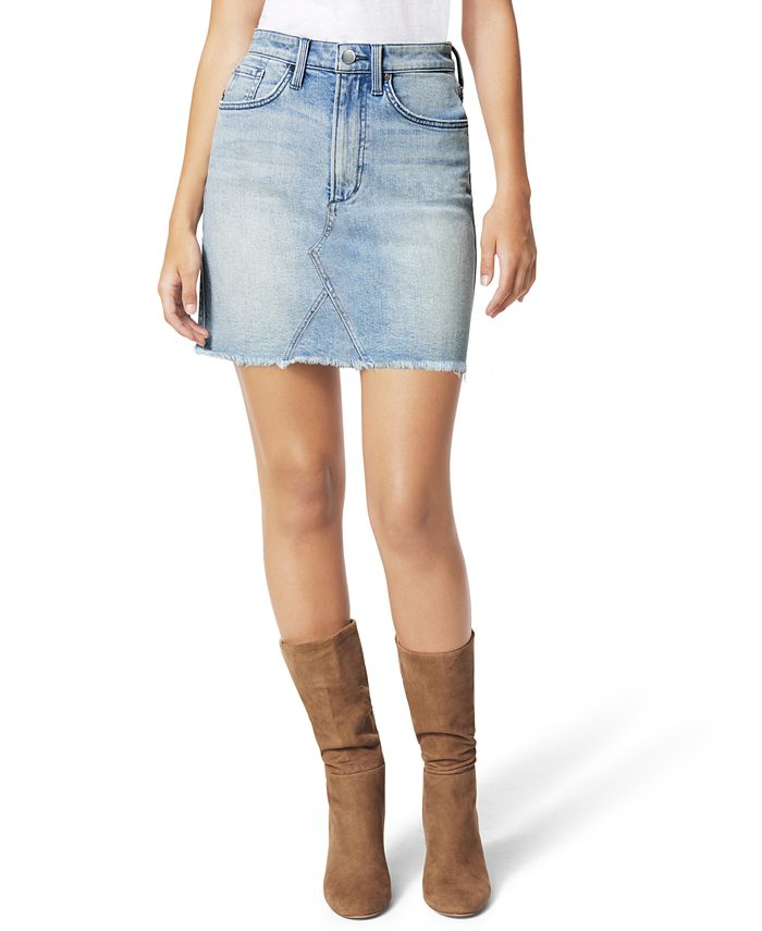 Joe's Jeans - High-Waist Frayed-Hem Denim Skirt