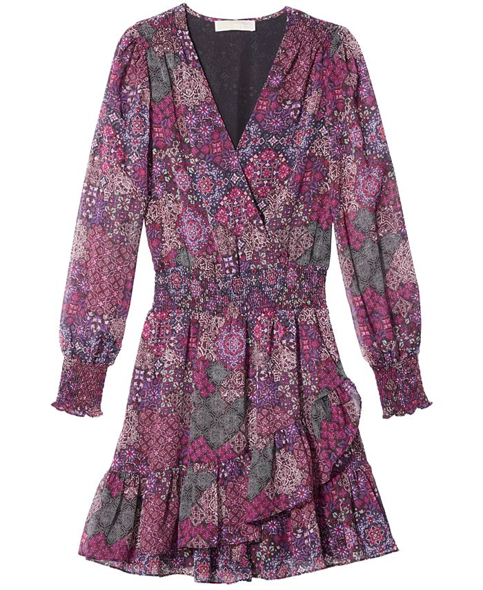 Michael Kors - Mega Patchwork Printed Faux-Wrap Dress