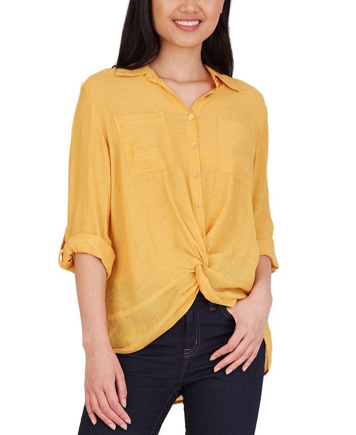 BCX - Juniors' Collared Twist-Front Shirt