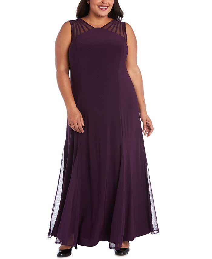 R & M Richards - Plus Size Mesh-Inset Gown