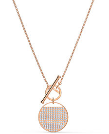 "Swarovski Rose Gold-Tone Crystal Coin 17-5/8"" Reversible Pendant Necklace"