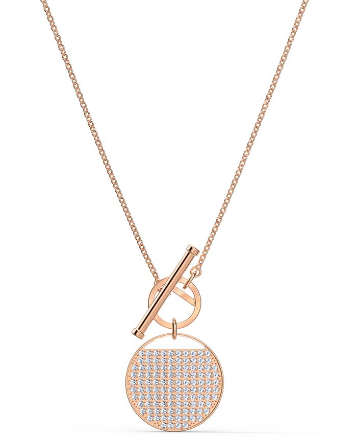 "Swarovski - Rose Gold-Tone Crystal Coin 17-5/8"" Reversible Pendant Necklace"