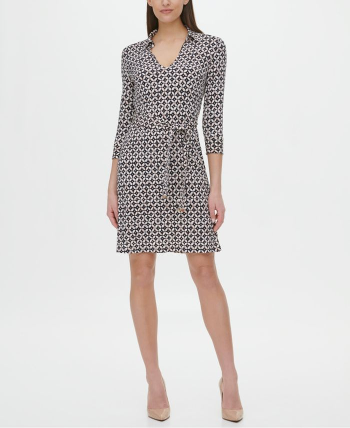Tommy Hilfiger Printed Belted Dress  & Reviews - Dresses - Women - Macy's