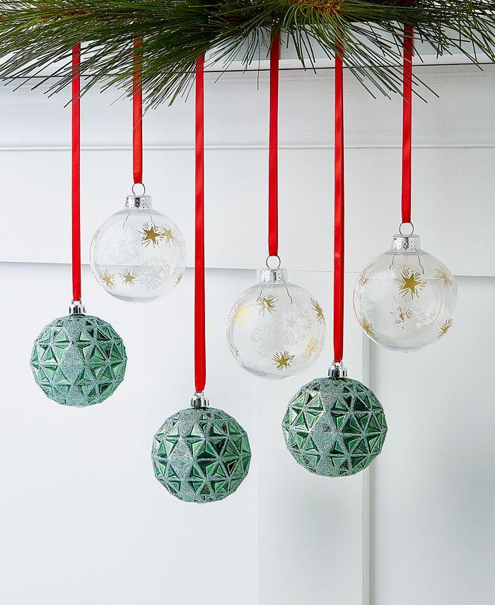 Holiday Lane - Birds & Boughs Glitter Green Shatterproof Ornaments, Set of 6