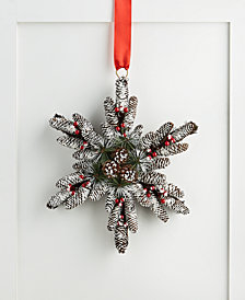 Holiday Lane Chalet You Stay, Snowflake Pinecone and Berry Wreath, Created for Macy's