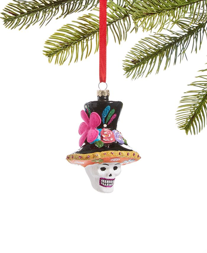 Holiday Lane - Day of the Dead Molded Glass Skull in Colorful Top Hat Ornament