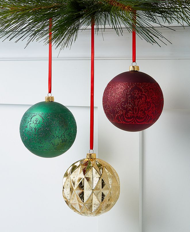 Holiday Lane Evergreen Dreams Shatterproof Ornaments, Set of 3, Created for Macy's