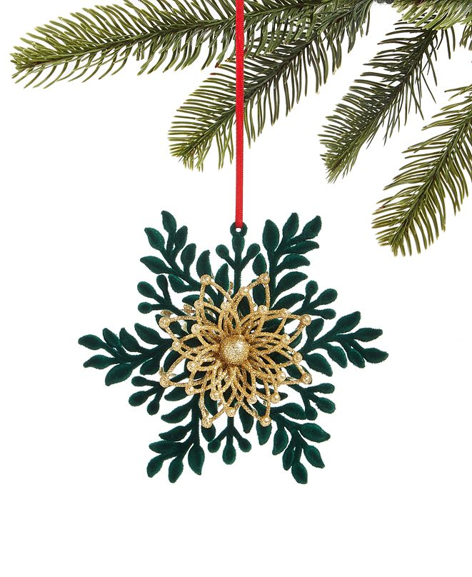 Holiday Lane Evergreen Dreams Flocked and Glittered Snowflake Ornament, Created for Macy's