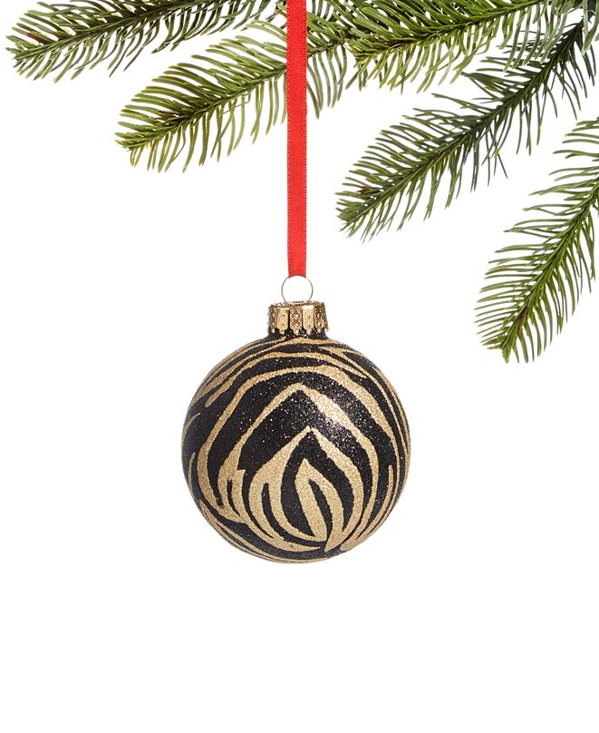 Holiday Lane Safari Black Glass Ball with Glitter Tiger Stripes, Created for Macy's